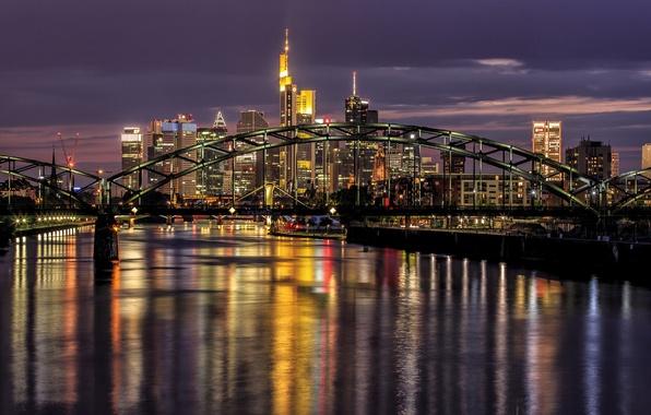 Картинка мост, река, Германия, ночной город, Frankfurt, Germany, Франкфурт-на-Майне