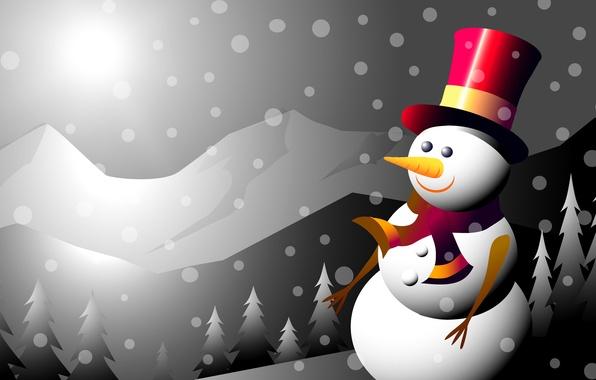 Картинка зима, горы, коллаж, новый год, рождество, вектор, снеговик, открытка