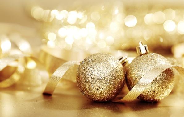 Картинка шарики, огни, золото, настроение, праздник, игрушки, новый год, лента, боке