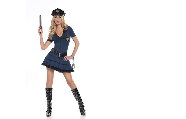 Картинка Девушка, Белый, Блондинка, Полиция, Фон, Ноги, Форма, Стоя, Tiffany Toth