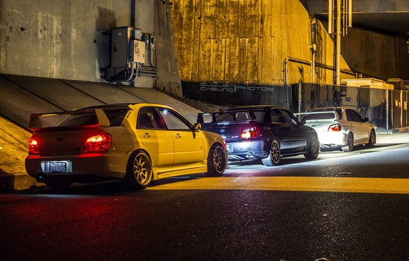 Картинка свет, city, фары, Subaru, WRX, light, red, STI, cars, blue, night, White, hellaflush, JDM