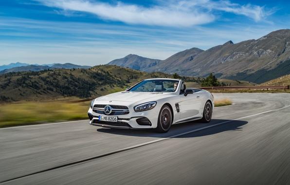 Картинка дорога, белый, Mercedes-Benz, скорость, кабриолет, мерседес, AMG, амг, R231, SL-Class