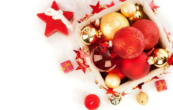 Картинка украшения, шары, свечи, Рождество, Новый год, Christmas, balls, box, New Year, decoration, Merry
