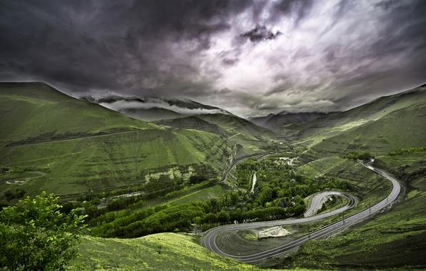 Пейзаж природа трава зелень дорога