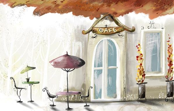 Картинка осень, краски, Кафе, cafe