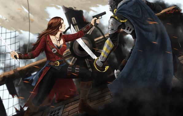 Картинка девушка, пистолет, фантастика, корабль, маска, арт, пират, мужчина, броня, плащь, сабля