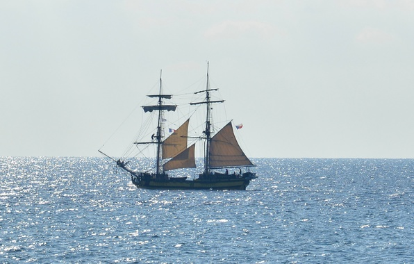 Картинка summer, sea, ocean, seascape, France, wind, boat, sunny, sailing, Côte d'Azur, Antibes