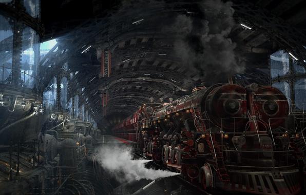 Картинка дым, станция, Локомотив, механизмы