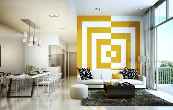 Картинка white, yellow, living room, decoration