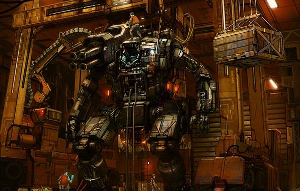 Картинка оружие, люди, робот, пушки, техника, ремонт, шагатель, ремонтная, бригада, инженеры, боезапас