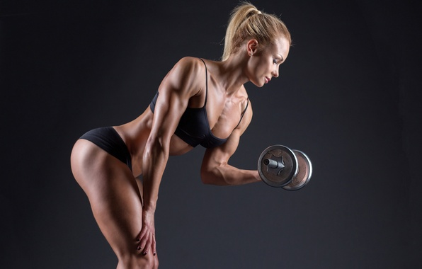 Картинка photography, blonde, pose, female, workout, fitness, bodybuilding, dumbbells, sportswear, muscle toning, lighting effects