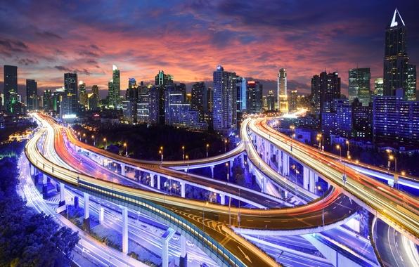 Картинка свет, ночь, город, огни, China, здания, дороги, Гонконг, небоскребы, выдержка, шоссе, Китай, Азия, высотки, высотные, ...