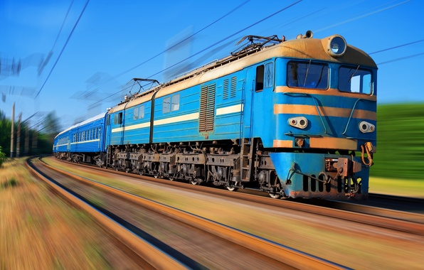 Картинка движение, поезд, электричка, ВЛ-8