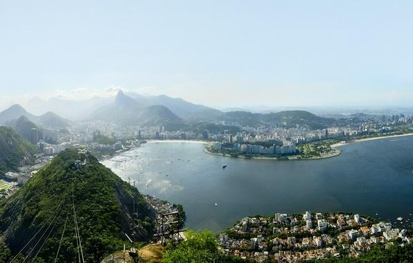 Картинка небо, облака, город, фото, движение, океан, бухта, небоскребы, wallpapers, высотки, brasil, Rio de Janeiro, рио-де-жанейро, …