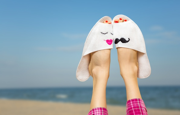 Картинка море, пляж, лето, отдых, ноги, summer, beach, sun, тапочки, vacation, accessories