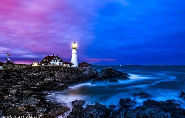 Картинка море, вода, пейзаж, камни, океан, берег, маяк, дома, Portland Headlight