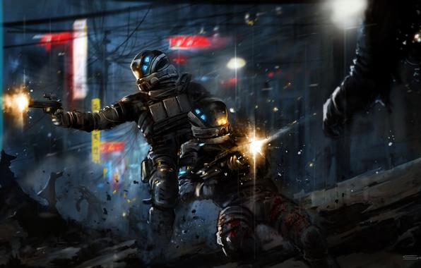Картинка город, оружие, солдаты, броня, битва, выстрелы, Retribution, Blacklight