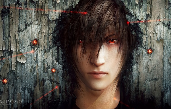 Картинка лицо, арт, лазер, парень, красные глаза, прицел, final fantasy xv, tincek-marincek, noctis lucis caelum