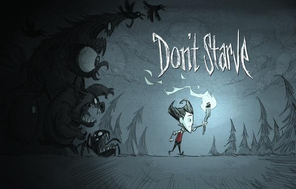 Картинка игра, монстры, тени, факел, инди, Уилсон, ученый, darkness, game. indie, Don't Starve, Wilson P. Higgsbury, …