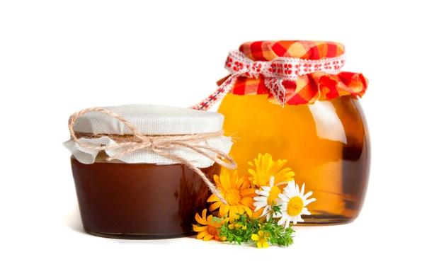 Картинка цветы, ромашки, мед, баночки, банки, полевые, сладкое