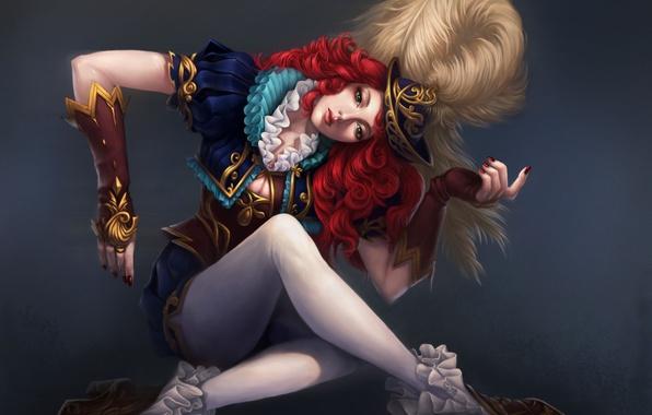 Картинка девушка, поза, перо, шляпа, руки, арт, рыжая, кудри, средневековье