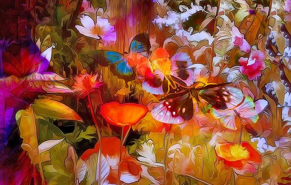 Картинка линии, цветы, природа, рендеринг, бабочка, краски, растение, лепестки, луг