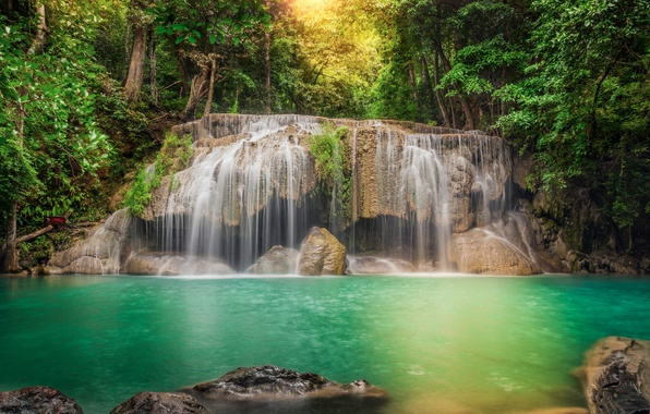 Картинка лес, деревья, река, камни, водопад, обработка, поток, джунгли, Thailand, таиланд, каскад