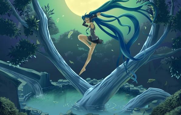 Картинка небо, вода, девушка, ночь, природа, дерево, луна, арт, vocaloid, hatsune miku, вокалоид, hare