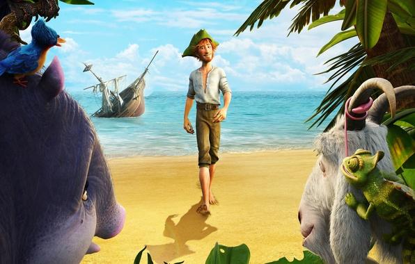 Картинка Clouds, Sky, Birds, Beach, Water, Sand, Boy, Ocean, Sea, EXCLUSIVE, Animation, Man, Movie, Film, Reptile, …
