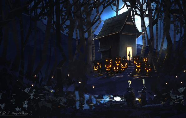 Картинка лес, ночь, дом, луна, арт, тыквы, нечисть, happy halloween, by k04sk