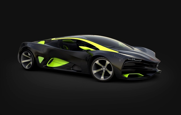 Картинка Concept, Зеленый, Концепт, Фары, Car, Автомобиль, Lada, Green, Lights, Лада, 2014, Raven, Равен