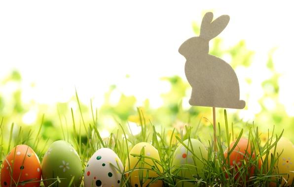 Картинка трава, природа, праздник, яйца, весна, кролик, Пасха, фигурка, Easter