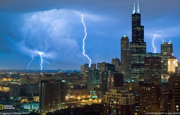 Картинка город, фото, молния, небоскребы, Чикаго, США, National Geographic, Иллиноис