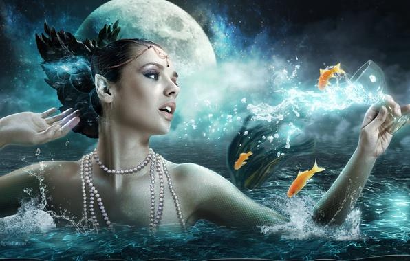 Картинка море, девушка, рыбки, луна, girl, moon, fantasy, sea, art, fish