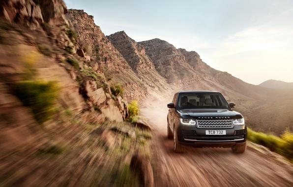 Картинка машина, небо, земля, внедорожник, Land Rover, Range Rover, в движении