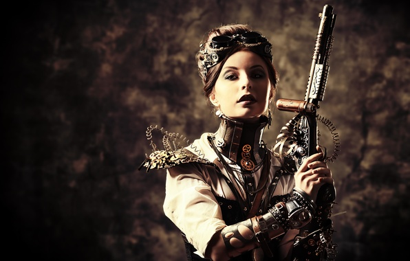Картинка девушка, стиль, оружие, провода, очки, стимпанк