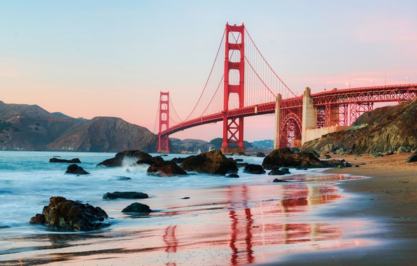 Картинка пляж, вода, город, берег, утро, Калифорния, Сан-Франциско, США, San Francisco, Golden Gate вridge, derek slagle …
