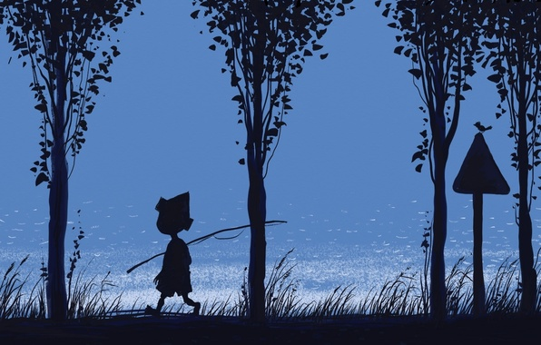 Картинка трава, река, синева, мальчик, удочка