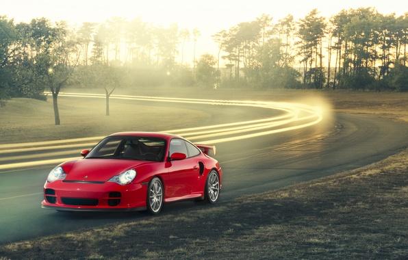 Картинка 911, Porsche, red, GT2, front, 996