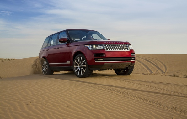 Картинка песок, небо, дюны, джип, Land Rover, Range Rover, передок, Ренж Ровер, Лэнд Ровер