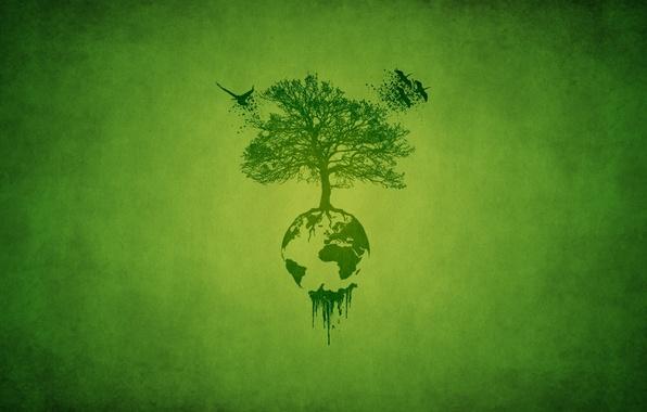 Картинка листья, птицы, корни, зеленый, дерево, планета, минимализм, minimalism, аисты