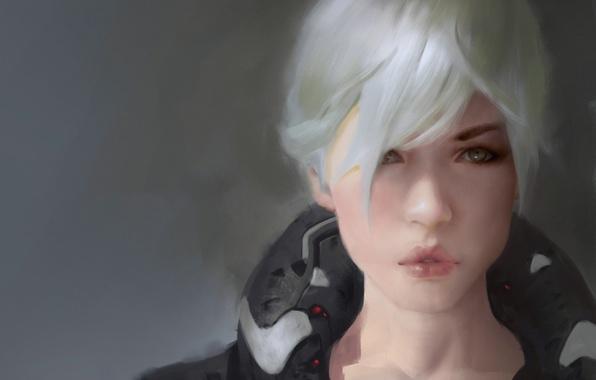 Картинка глаза, взгляд, девушка, лицо, арт, прическа, губы, белые волосы