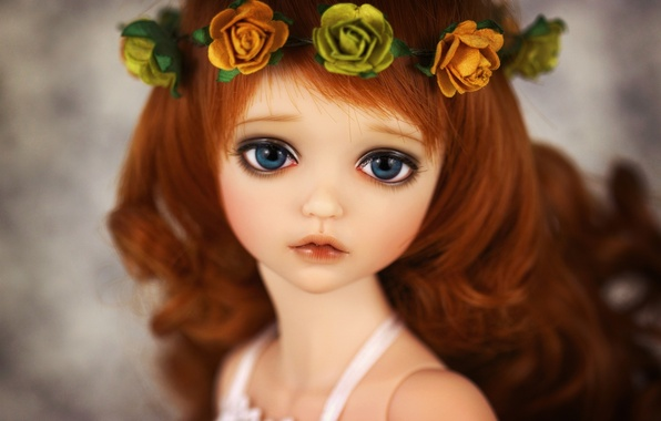 Картинка цветы, игрушка, розы, кукла, венок