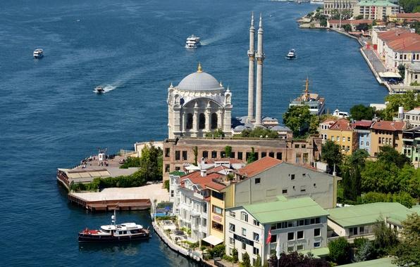 Картинка пролив, берег, мечеть, Стамбул, Турция, Босфор