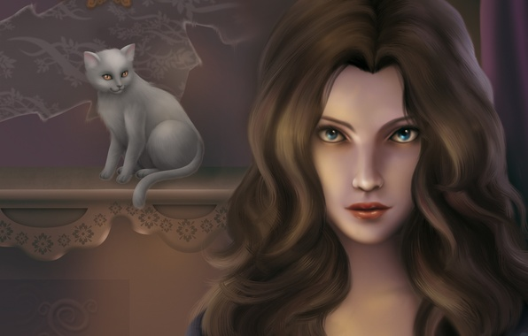 Картинка кошка, глаза, взгляд, девушка, фон, волосы, арт, белая, живопись, кудри