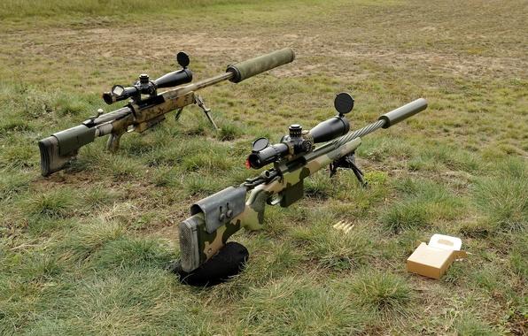 Картинка трава, оружие, винтовки, снайперские