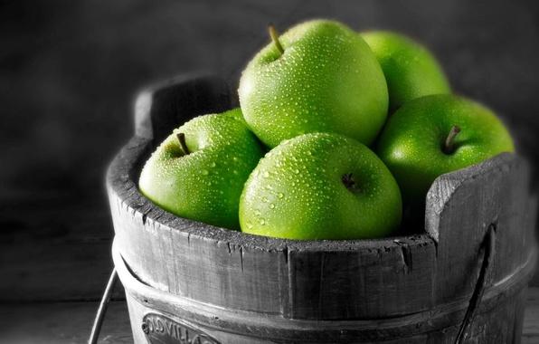 Картинка капли, макро, фото, яблоки, зеленые, фрукты, картинка, витамины