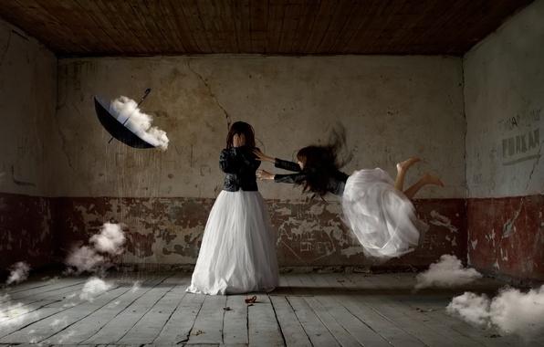 Картинка девушка, облака, фантазия, комната, зонт, арт