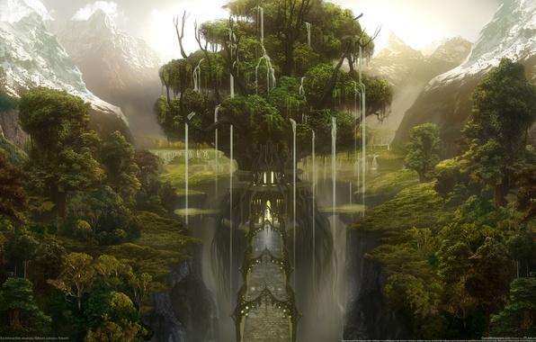 Картинка лес, горы, мост, замок, дерево, ущелье