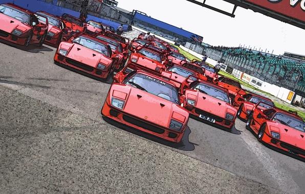Картинка Красный, Рисунок, Машина, Ferrari, F40, Автомобиль, Много, Старт, F 40